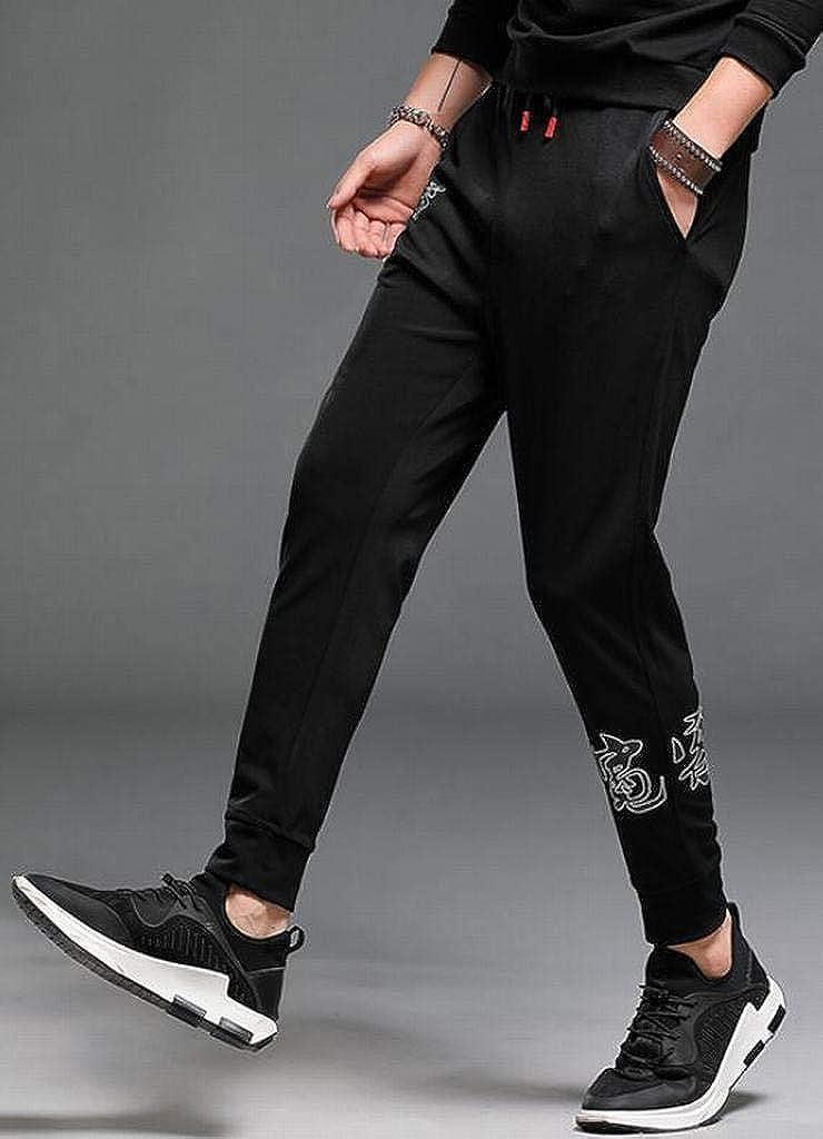 Fubotevic Men Harem Pants Casual Drawstring Elastic Waist Letter Floral Print Jogging Pants Trousers