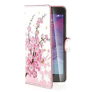 Funda de piel con tapa para Samsung Galaxy Note 4 con cierre imantado práctica dos bolsillos delanteros para guardar tarjetas bancarias con tapa de-A02
