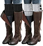 Loritta 2 Pairs Women Winter Crochet Knitted Boot Cuffs Toppers Short Leg Warmer