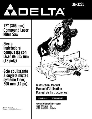 mpound Laser Miter Saw Instruction Manual Reprint ()