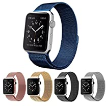 Apple Watch Band, Vitech Fully Magnetic Closure Clasp Mesh Loop Milanese Stainless Steel Bracelet Replacement Band Strap for Apple Iwatch Sport&edition (Milanese-Blue-42mm)