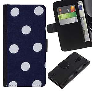 For SAMSUNG Galaxy S4 IV / i9500 / i9515 / i9505G / SGH-i337,S-type® Polka Dot Navy Blue Purple White Spots - Dibujo PU billetera de cuero Funda Case Caso de la piel de la bolsa protectora