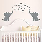 Elephant Family Wall Decal With Hearts Music Quote Art Baby Nursery Wall Decor (Grey) - 24  X 51
