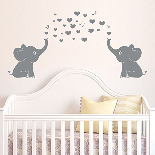 "Elephant Family Wall Decal With Hearts Music Quote Art Baby Nursery Wall Decor (Grey) - 24"" X 51"" from CHRIS"