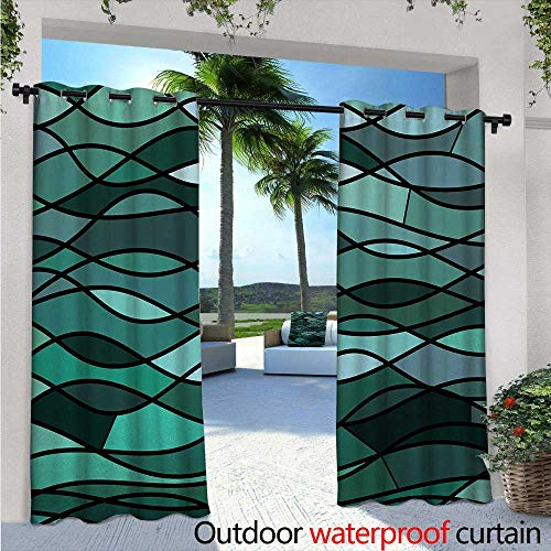 (BlountDecor Teal Indoor/Outdoor Single Panel Print Window Curtain W96 x L84 Abstract Mosaic Waves Ocean Inspired Expressionist Pattern Marine Design Image Silver Grommet Top Drape Dark Green)