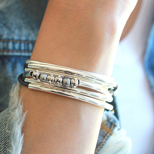 Lizzy James Charmer Natural Black Leather Wrap Bracelet Necklace in Silver with Small Freshwater Pearls (Small) by Lizzy James (Image #1)
