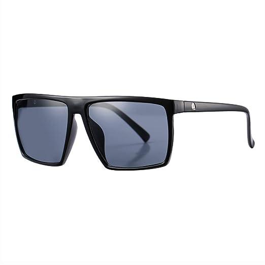 80075ef40c Square Sunglasses for Men Women Oversized Cool Retro Brand Designer Sun  Glasses (Black Frame/