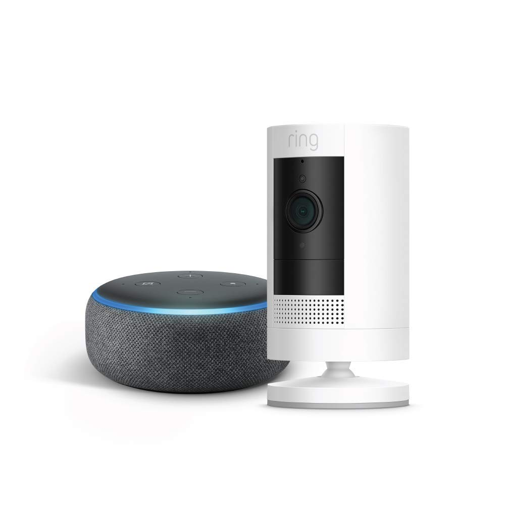 Ring Stick Up Cam Battery with Echo Dot (Charcoal)