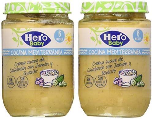 Hero Baby Cocina Mediterránea Tarrito de Crema Suave de Calabacin con Jamón y Queso para bebés a partir de 6 meses Pack de 2 x 190 g: Amazon.es: Alimentación y bebidas