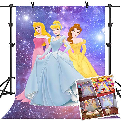 MME Backdrop 5x7ft Purple Galaxy Background Cartoon Princess Children Photography Seamless Vinyl Photo Studio Props Backdrop -