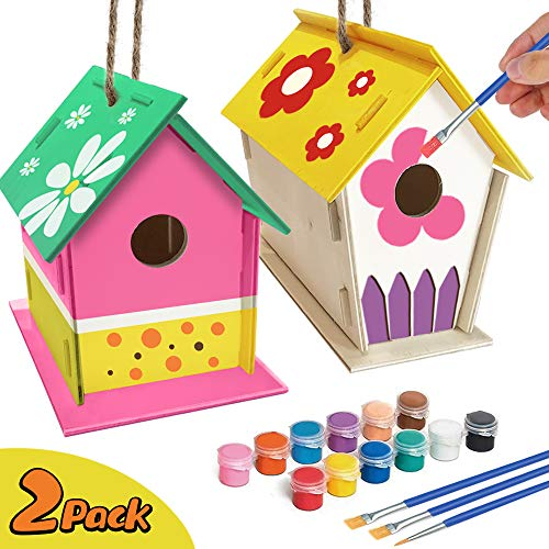 🥇 ORIENTAL CHERRY Crafts for Kids Ages 4-8 – 2Pack DIY Bird House Kit – Build and Paint Birdhouse