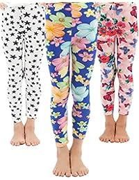 Girls Toddler Leggings Pants 3 Pack Stretchy Printing Flower Classic Leggings for Kids