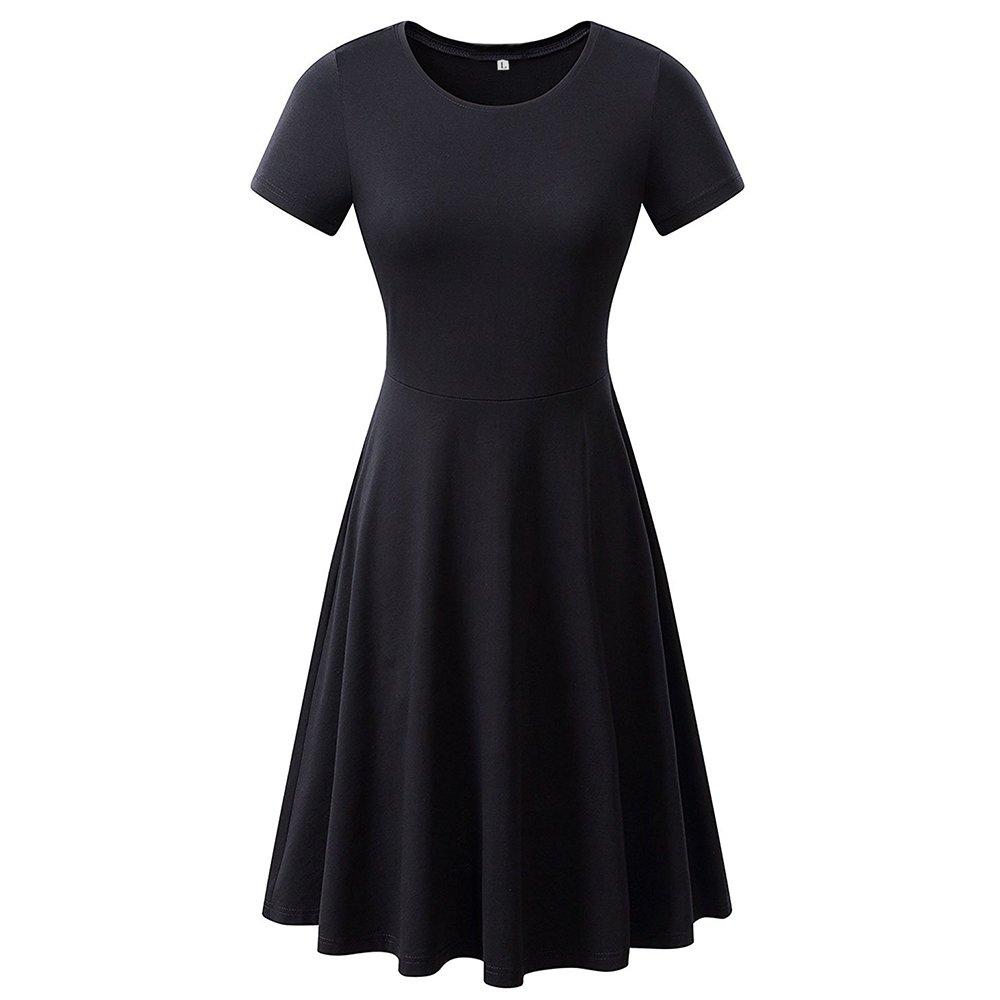 AIKEN Black Tshirt Dress Tops Summer Swing Dress Tank Rayon Beach Tshirt Cover up Short Sleeve Knee Length Tee Shirt Tunics for Women Ladies Plus Size XL