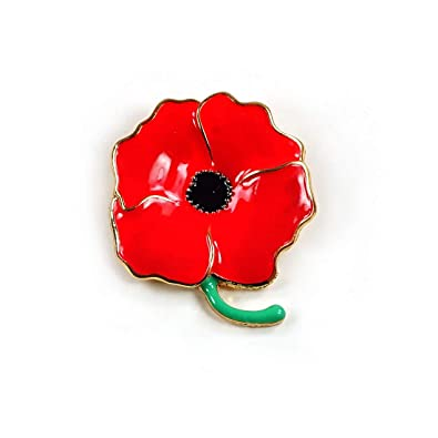 Red Enamel Crystal Poppy Flowers Brooch Pins Badges Flowers Remembrance Day  Gifts