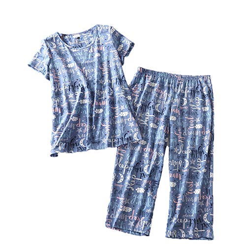 (Amoy madrola Women's Cotton Sleepwear Tops with Capri Pants Pajama Sets SY215-Good Night-M)