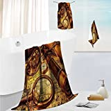 SCOCICI1588 Fast Drying Extra Large Bath Towel SetArasque Star Shapes Retro with Fractures Islamic Eid Mosque for Spa &Hotel Quality 19.7''x19.7''-13.8''x27.6''-31.5''x63''