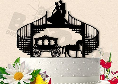 Cinderella Dancing Happily with Prince and Carriage Wedding Cake (Cinderella Dancing)