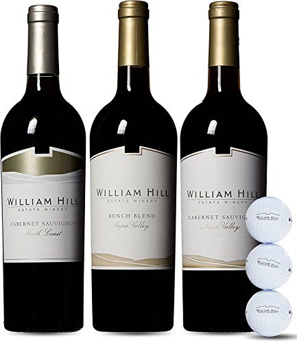 William Hill Estate Wine and Bridgestone Golf Ball Gift Set, 3 x 750 mL, Official Wine of the PGA TOUR