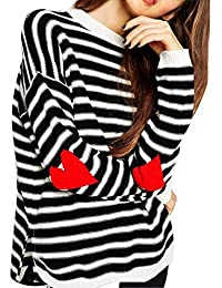 Women's Cute Heart Elbow Patch Sweater Stripes Knitted Pullover Tops