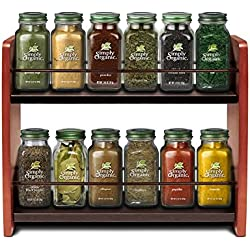 Simply Renewed Small Spice Rack Organizer Wooden Kitchen Countertop Spice Jar Holder Wood 2-Tier Standing Wall Storage Shelf Solid Wood and Steel Construction