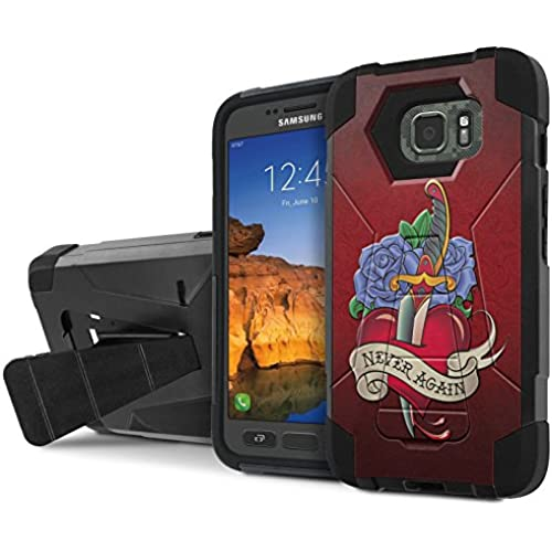 AT&T [Galaxy S7 Active] Armor Case [NakedShield] [Black/Black] Tough ShockProof [Kickstand] Phone Case - [Never Again] for Samsung Galaxy [S7 Active] Sales