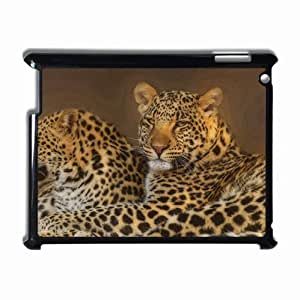 Customized Back Cover Case For iPad 2 3 4 Hardshell Case, Black Back Cover Design Leopard Personalized Unique Case For iPad 2