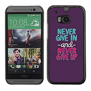 PC/Aluminum Funda Carcasa protectora para HTC One M8 never give in up mint green purple / JUSTGO PHONE PROTECTOR