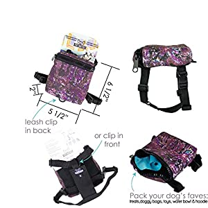 2-in-1 Adjustable Dog Harness Backpack by Pups Who Pack, Backpack for Dogs, Poo Bag Holder, Size XS, Small, Medium, Designer Dog Accessories Gifts for Dogs, Small Dog Harness Backpack (Galaxy, S)
