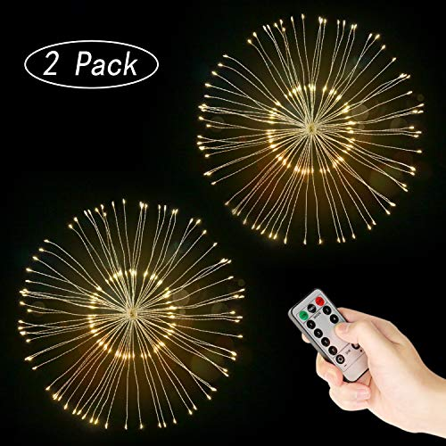 Ledes Fairy String Led Lights, 150 LED 75 Strands Battery Powered Copper Wire Twinkle Micro Mini Starry Starburst Light with Remote for Party Christmas Tree Garden Patio Decoration 2 Pack