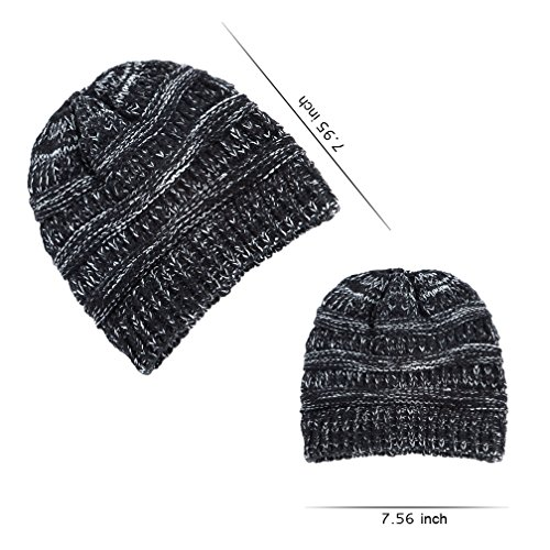VeMee Ponytail Beanie For Women Messy Bun Beanie Solid Stretch Cable Knit Hat Cap (Black+Gray)