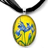 Laura Milnor Iverson Blue Iris Handmade Impressionist Art Pendant Flowers Necklace Jewelry