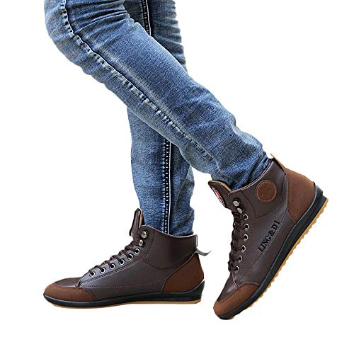 Todaies Men's Shoes Leather Boots Sports Casual Shoes British Style Vintage Shoes