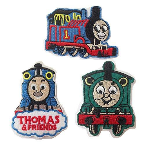 Thomas the Tank Train Embroidered Iron/sew on Patch Cloth Applique Set of 3 (Thomas)