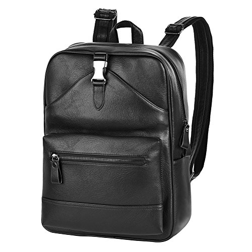 Vbiger Laptop Backpack PU Leather Backpack Waterproof School Bag Large Travel Daypack for Men Fits Tablet and 15 Inch Laptop (Black)