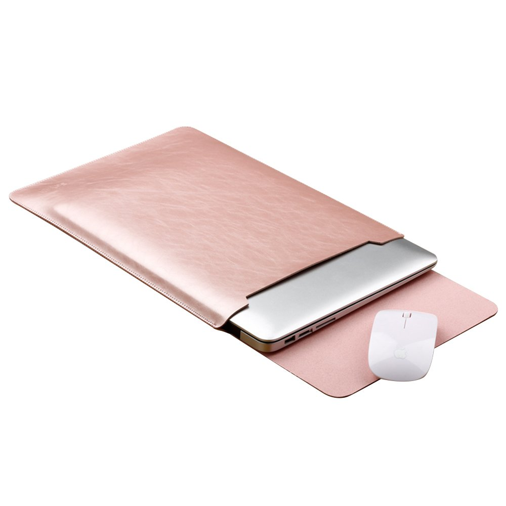 AENMIL For Apple Macbook 12'' Ultrathin Protective Carrying Bag, PU Leather Soft Sleeve Case Cover Holder with Exterior Mouse Pad(Rose Gold)