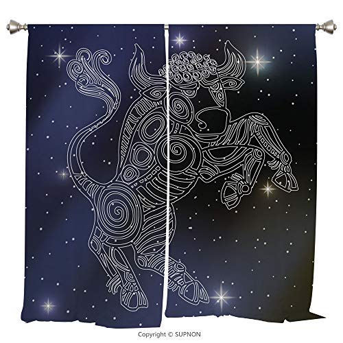 Rod Pocket Curtain Panel Thermal Insulated Blackout Curtains for Bedroom Living Room Dorm Kitchen Cafe/2 Curtain Panels/108 x 108 Inch/Taurus,The Sun on Bull Sign Symbol Mythological Figure on Milky W