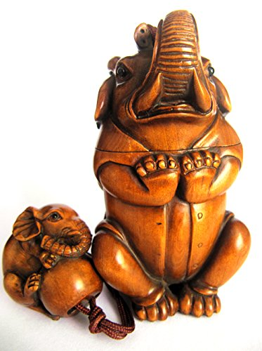 IR146-10 Years Old 84.54M Carved Boxwood INRO/Netsuke/ojime : Elephant