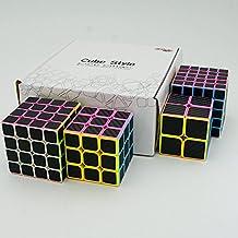 Cuberspeed Speedcubing Bundle Phantom Carbon fiber sticker Magic cube 2x2 3x3 4x4 with 5x5 Stickerless pink with black sticker Speed cube