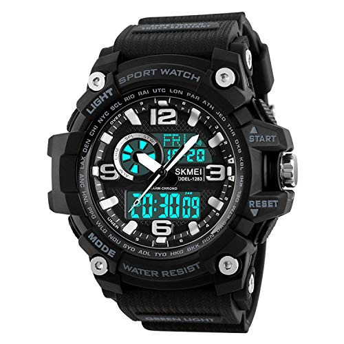 Mens Analog Digital LED 50M Waterproof Outdoor Sport Watch Military Multifunction Casual Dual Display 12H 24H Stopwatch Calendar Wrist Watch