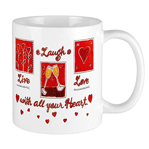 Mug (Coffee Drink Cup) Laugh Live Love With Your Heart