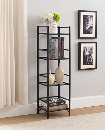 eHomeProducts 4-tier Metal Bookshelf Bookcase Audio Video Media Display Cabinet, Black