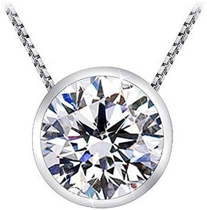 1 1/2 Carat Bezel Set Solitaire Diamond Pendant Necklace Platinum (K, I1, 1.5 ctw) w/ 16
