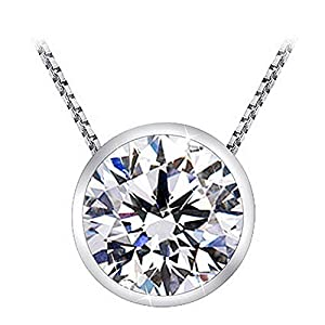 1 Carat Bezel Set Solitaire Diamond Pendant Necklace Platinum (J, I2, 1 ctw) w/ 16″ 14K White Gold Chain
