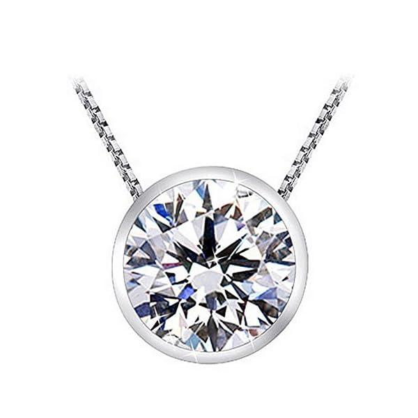 1-Carat-Bezel-Set-Solitaire-Diamond-Pendant-Necklace-Platinum-J-I2-1-ctw-w-16-14K-White-Gold-Chain