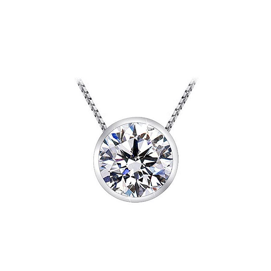 "1 1/2 Carat Bezel Set Solitaire Diamond Pendant Necklace Platinum (K, I1, 1.5 ctw) w/ 16"" 14K White Gold Chain"