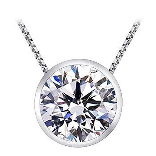 Solitaire Diamond Pendants 1 Carat Bezel Necklace 18K White Gold (J, SI2-I1, 1 ctw) w/ 16