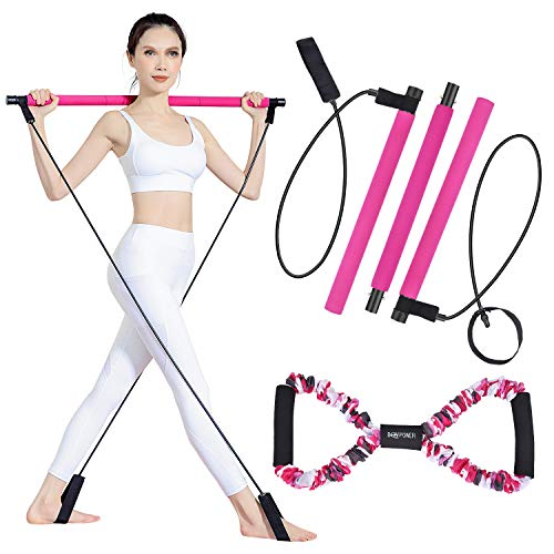 Pilates Bar Kit with Resistance Band for Portable Home Gym Workout, 3-Section Yoga Pilates Stick Muscle Exercise…