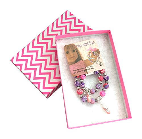Dolly & Me Matching Charm Bracelet Boxed Gift Set for Girl and 18 Inch Doll (Ballet Slippers)