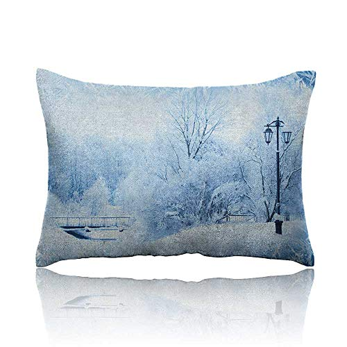 Anyangeight Winter Cars Pillowcase Winter Trees in Wonderland Theme Christmas New Year Scenery Freezing ICY Weather Youth Pillowcase 16