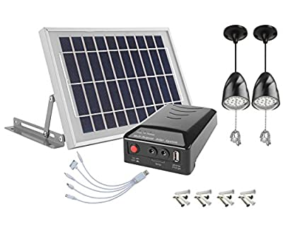 MicroSolar - Lithium Battery - 2X2W LED Lamps - 1 USB - Angle Adjustable Brackets - Solar Home System